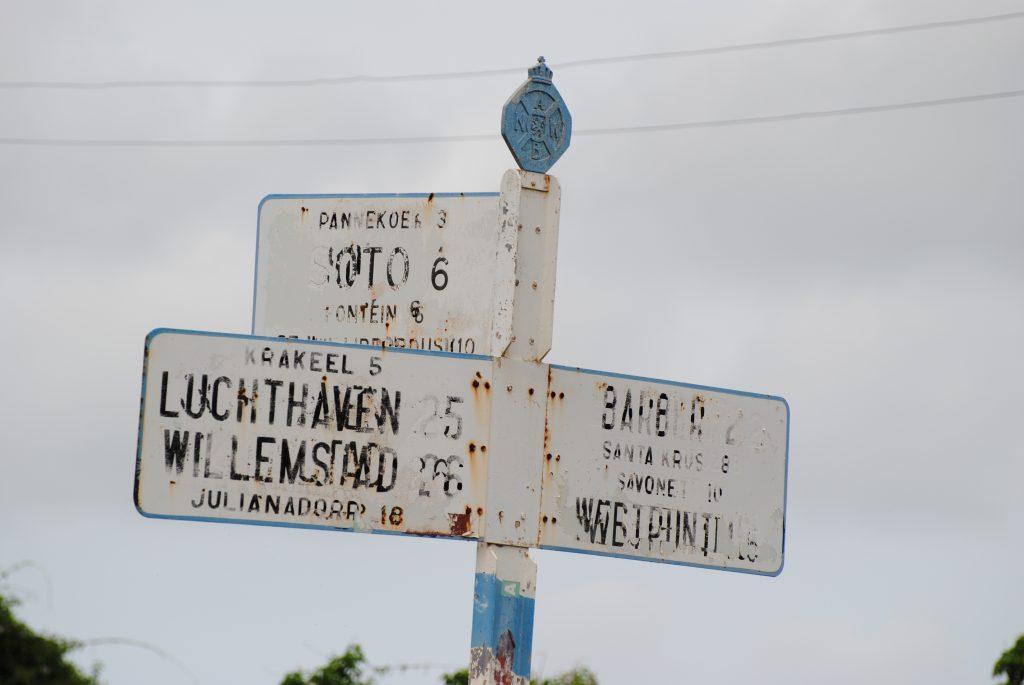 ANWB wegwijzer, net buiten Willemstad